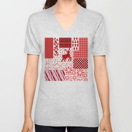 Holiday Red Quilt Design Unisex V-Neck