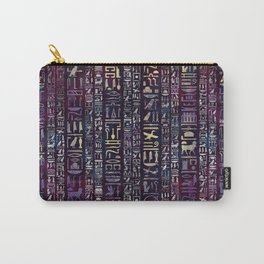 Egyptian hieroglyphs on purple violet painted texture Carry-All Pouch