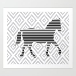 Horse - Abstract geometric pattern - gray, black and white. Art Print