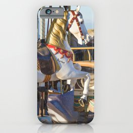 Wooden horse riding iPhone Case