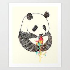 Panda Loves Ice Cream Art Print