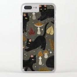 autumn cat magic Clear iPhone Case