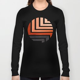 Burnt Sienna Circle Round Framed Mid Century Modern Aztec Geometric Pattern Maze Long Sleeve T-shirt