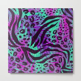 purple teal floral animal print Metal Print