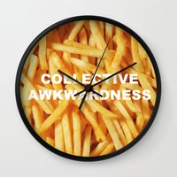 fries Wall Clocks featuring FRIES, ANYONE?  by Collective Awkwardness
