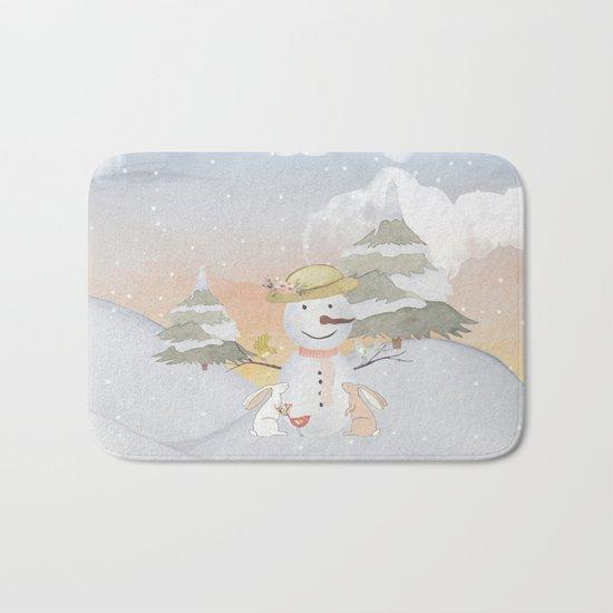 Winter Wonderland- Snowman birds and bunnies - Watercolor illustration Bath Mat
