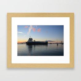 Ship Beaumare At Dusk Framed Art Print