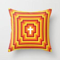 Technicolour Cross - Orange Throw Pillow