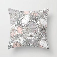 Gray and Pink Floral Pattern Throw Pillow