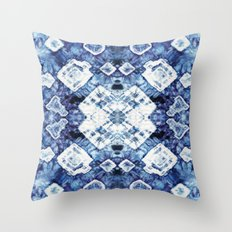 Blue Silk Tie-Dye Throw Pillow