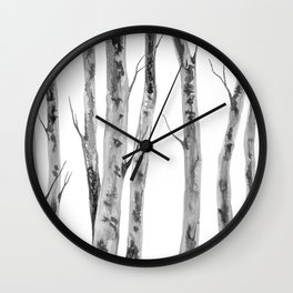 Birch Trees Indian Ink Illustration | Canadian Art Wall Clock