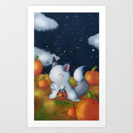 Ghost in the Pumpkins Art Print
