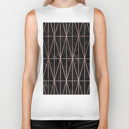 Modern geometric triangles faux rose gold pattern on black marble Biker Tank