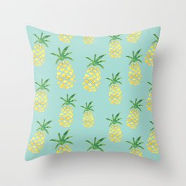 Pineapples Print (Mint) Throw Pillow