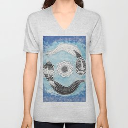 Ying and Yang Coi With Lotus Unisex V-Neck