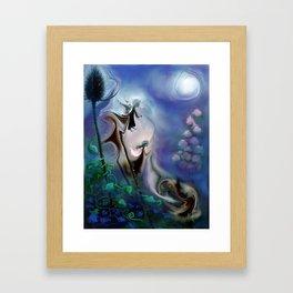 Thistle Fairies in Blue Framed Art Print