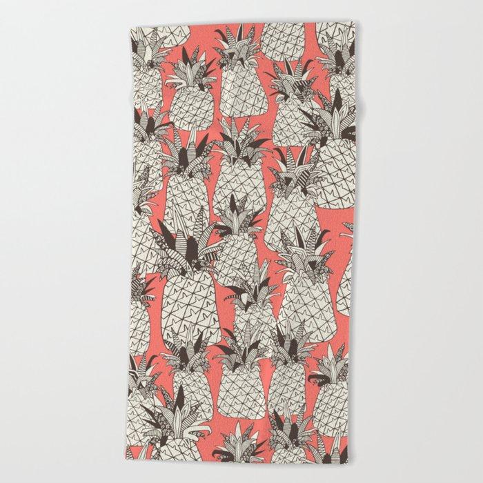 pineapple blush coral Beach Towel