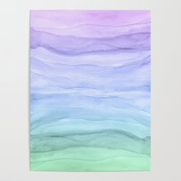 Layers Blue Ombre - Watercolor Abstract Poster