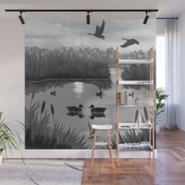 The Pond Black and White Wall Mural