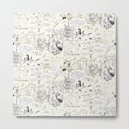 Chinoiserie pattern with dragons, bats, pagodas Metal Print