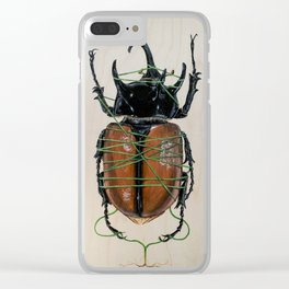 """Tangled""- Painting of a rhinoceros beetle wrapped in a vine Clear iPhone Case"
