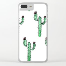 Cactus Flower II Pattern Clear iPhone Case