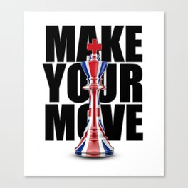 Make Your Move UK / 3D render of chess king with British flag Canvas Print