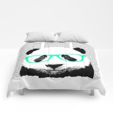 Panda with teal glasses Comforters