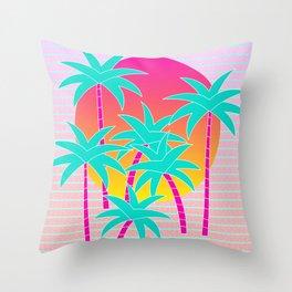 Hello Miami Sunset Throw Pillow