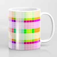 bathroom Mugs featuring Bathroom Tile Rainbow by Jessica Slater Design & Illustration