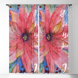 "Pretty watercolor poinsettia ""Let every season be the season of joy"" quote Blackout Curtain"