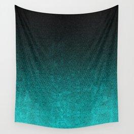 Aqua & Black Glitter Gradient Wall Tapestry
