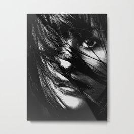 Girl, Face, Beauty, Model, Lips, Hair, Modern, Minimal, Interior, Wall art Metal Print