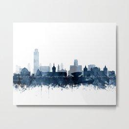 Albany Skyline Blue Watercolor by Zouzounio Art Metal Print