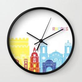 Rhodes skyline pop Wall Clock