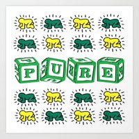 keith haring Art Prints featuring PURE (Keith Haring Tribute) by Kerosene Bill