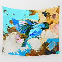 wesley bird Wall Tapestries featuring Birds by Saundra Myles