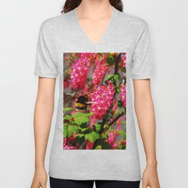 Bumble Bee and Blood Currant Ribes Sanguineum std Unisex V-Neck