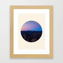 Purple & Blue Sunrise Over Mountain Range Circle Photo Framed Art Print
