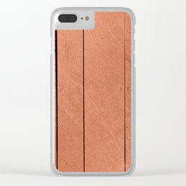 Rose gold antique wood Clear iPhone Case