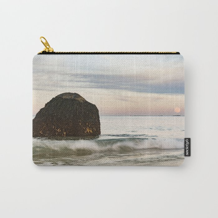 Pastel Moon rise at the beach Carry-All Pouch