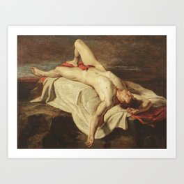 Male nude - 18th century old oil painting Art Print