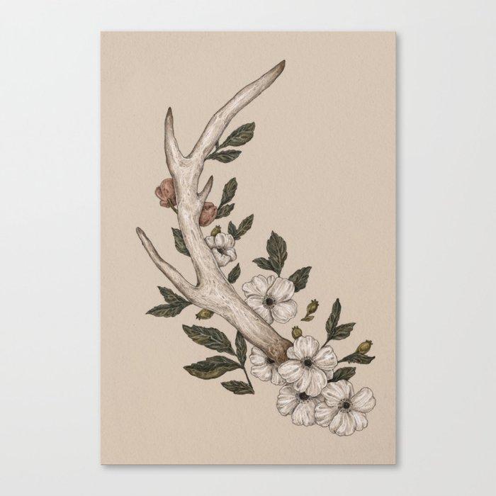 Floral Antler Leinwanddruck
