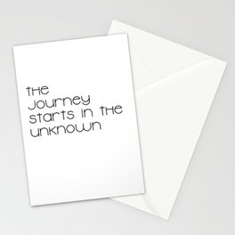 The Journey Starts in the Unknown (Black) Stationery Cards