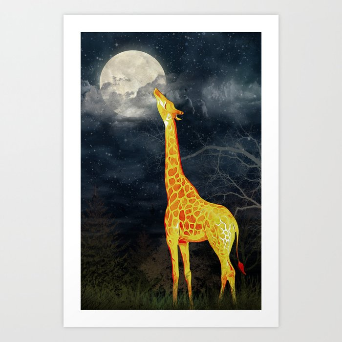 What the moon tastes like? (Giraffe and Moon) Art Print