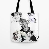1d Tote Bags featuring 1D Splat by D77 The DigArtisT