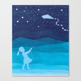 Girl with kite, kids watercolor Canvas Print