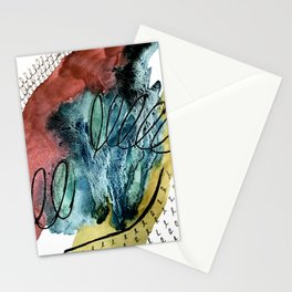 Motion: an abstract mixed media piece in muted primary colors Stationery Cards