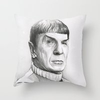 spock Throw Pillows featuring Spock by Olechka