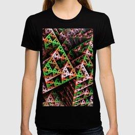 Pink & Green 3D Sierpinski Triangle Fractal Art Print T-shirt